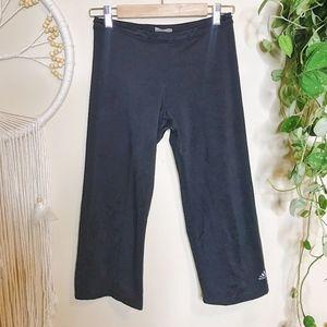 Adidas Capri Pants Wide Leg Workout Gym Black